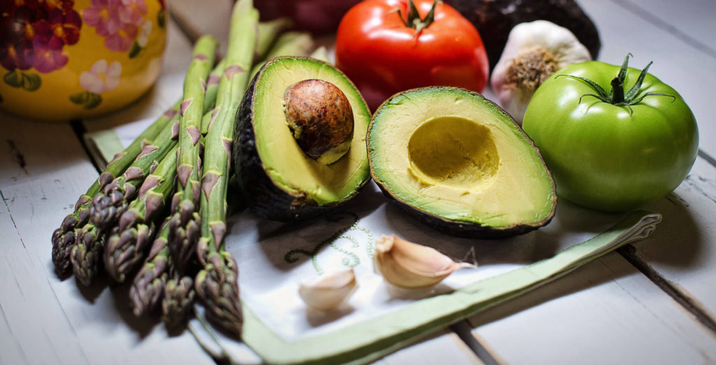 selection of vegetables and avocado