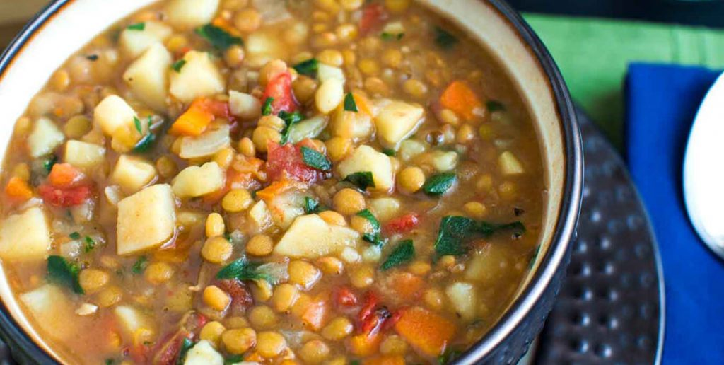 Bowl of hearty lentil and vegetable soup. Credit- Forks over knives